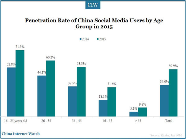 Penetration Rate of China Social Media Users by Age Group in 2015